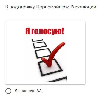 Голосуй за Первомайскую Резолюцию!