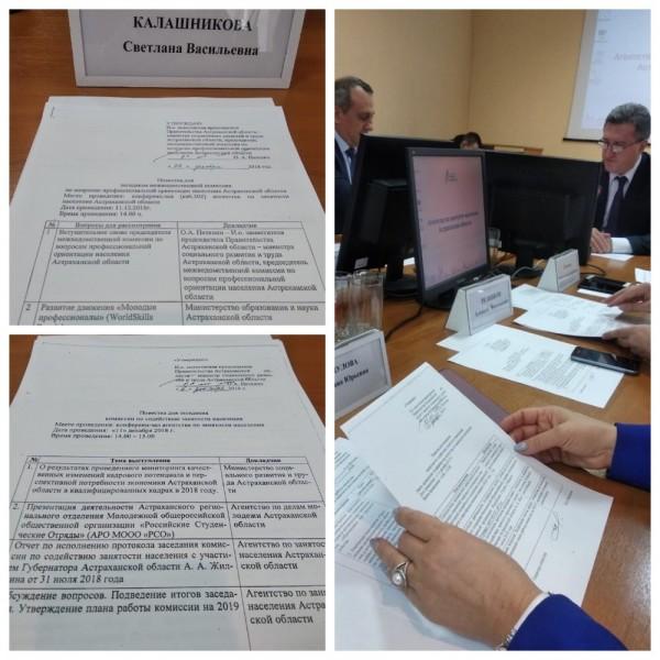 11 декабря 2018 года состоялось заседание комиссии по содействию занятости населения и  заседание межведомственной комиссии по вопросам профессиональной ориентации населения Астраханской области